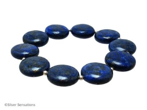 Blue Lapis Lazuli Coin Beads & Sterling Silver Bracelet